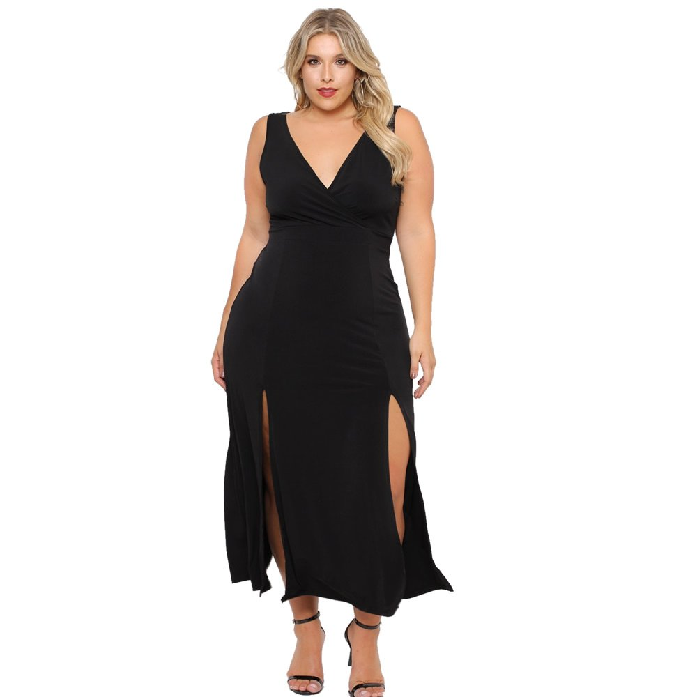 ROSIANNA Women's Plus Size Maxi Long Dresses V-Neck, Sleeveless, Bodycon Side Slit