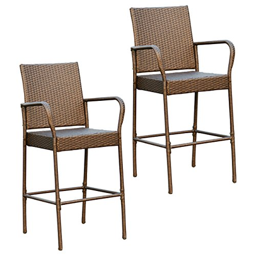 Victoria Young Full Seat Barstool, Set of 2 Patio Furniture Chair Set, Rattan Wicker Bistro Set, Brown Review
