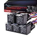 MICTUNING 30/40 AMP SPDT Relay 12V 5-Prong Harness Socket with Color-labeled Wires - Waterproof Automotive Relay (5 pack)