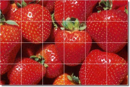Fruits Vegetables Photo Kitchen Tile Mural 30. 32x48 Inches Using (24) 8x8 ceramic tiles.