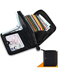 HUANLANG Mens Wallet RFID Blocking Multi Card Holder Wallets for Men Bifold Wallet with Zipper Small Men's Leather Wallet