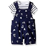 Little Me Baby Boys' 2 Piece Knit Shortall Set, Navy, 6 Months