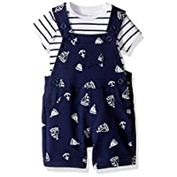 Little Me Baby Boys' 2 Piece Knit Shortall Set, Navy, 6 Months