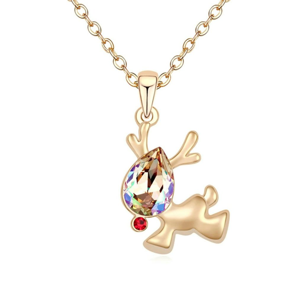 Adisaer Gold Plated Pendant Necklaces for Women Cubic Zirconia Elk