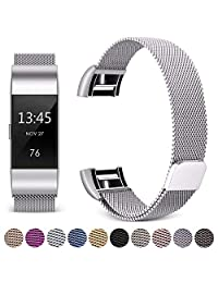 Hotodeal Band Compatible Fitbit Charge 2 Bands, Bracelet Milanese Loop Stainless Steel Metal Accessories Replacement Strap Unique Magnet Lock, Fitness Sport Band Men Women Small Large