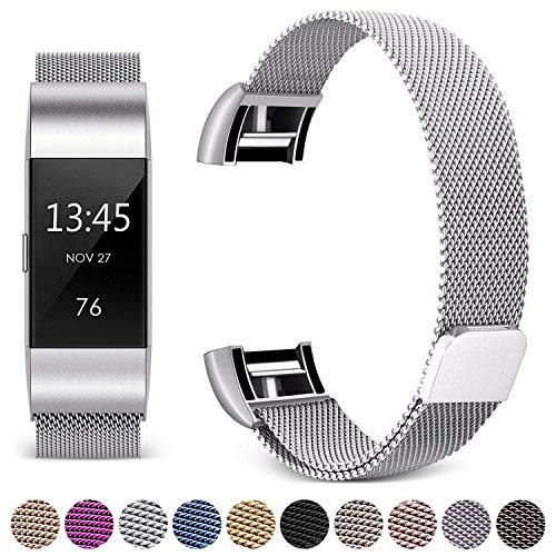 Hotodeal Band Compatible Fitbit Charge 2 Bands, Band Milanese Loop Stainless Steel Magnet Metal Replacement Bracelet Strap, Wristbands Accessories for Women Men, Silver