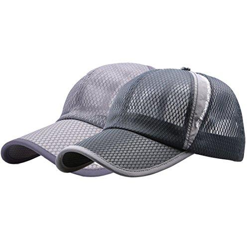 King Star 2 Pack Men Women Summer Mesh Breathable Adjustable Snapback Baseball Cap Sports Hat Dark Grey+Light Grey