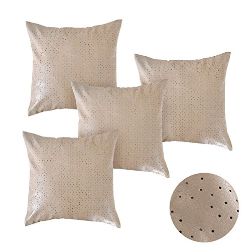 Deconovo Indoor Decorative Dot Perforated Pattern Solid Faux Leather Pillow Covers Cushion Covers Throw Pillow Cases for Living Room 18 x 18 Khaki Set of 4 Solid Faux Leather