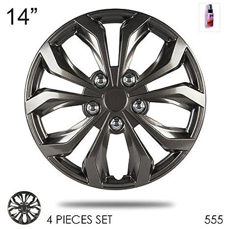 Nuevo diseño 14 pulgadas tapacubos de plástico ABS gris acabado rendimiento rueda Lug piel Juego de fundas de tapa de rueda 555 con ambientador: Amazon.es: ...