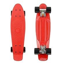 PHAT ® 22 Inch Complete Plastic Retro Mini Skateboard Cruiser Street Surfing Skate Banana Board (Red)