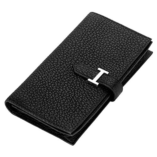 Long Leather Ladies Wallet - LUCKYSGY Women Genuine Leather Wallet Long Cash Purse Large Capacity Bilfold for Lady (Black)