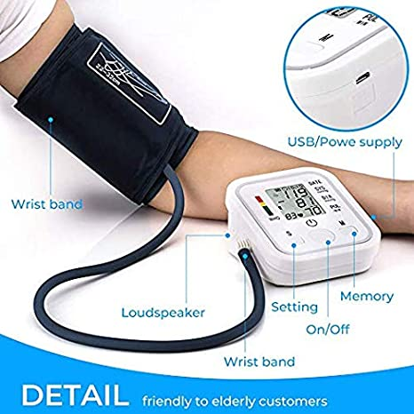 ... Pressure Monitors Portable LCD Screen Irregular Heartbeat Monitor with Adjustable Cuff and Storage Bag Powered by Battery -White: Health & Personal Care