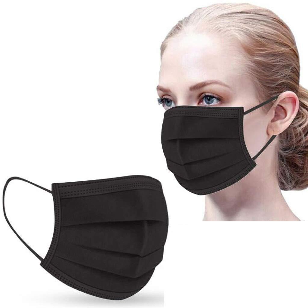 Danmeifu 50/100 Piezas Mujeres Hombres Protección 3 Capas Transpirables con Elástico para Los Oídos Para Ciclismo Cámping, Adulto Protección, 𝐌𝐚𝐬𝐜𝐚𝐫𝐢𝐥𝐥𝐚𝐬 (Adulto_100PC, Negro)