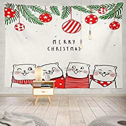 Soopat Tapestry Polyester Fabric Cute Greeting Card Merry Christmas with Cat Singing Winter Doodle Wall Hanging Tapestry Decorations for Bedroom Living Room Dorm 60X50 inch