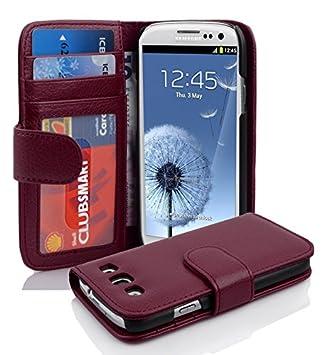 Cadorabo Funda Estilo Libro de la Marca Samsung Galaxy S3/S3 Neo (i9300), con 3 Compartimentos para Tarjetas. Color Burdeos