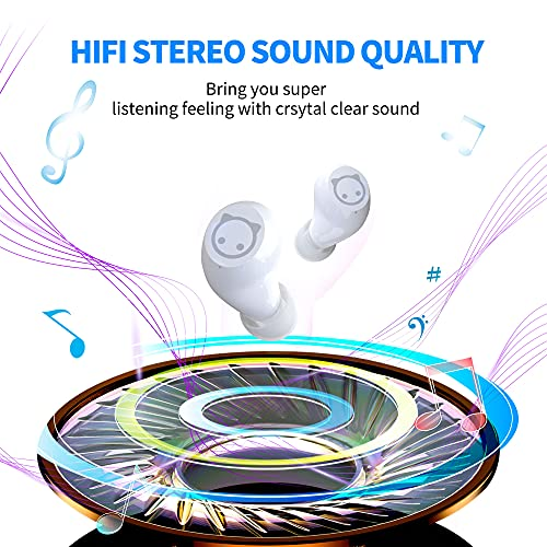 Wireless Earbuds for Kids, Bluetooth 5.0 in-Ear Headphones with Mic & Charging Case Type-C Fast Charge Touch Control Sweat Resistant Deep Bass 3D Stereo Earphone for iPhone and Android