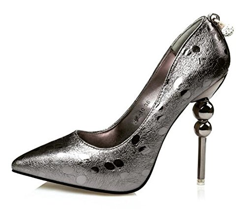 CHFSO Womens Elegant Stiletto Pointed Toe Low Top Slip On High Heel Platform Pumps Shoes Gun FqPxRkL