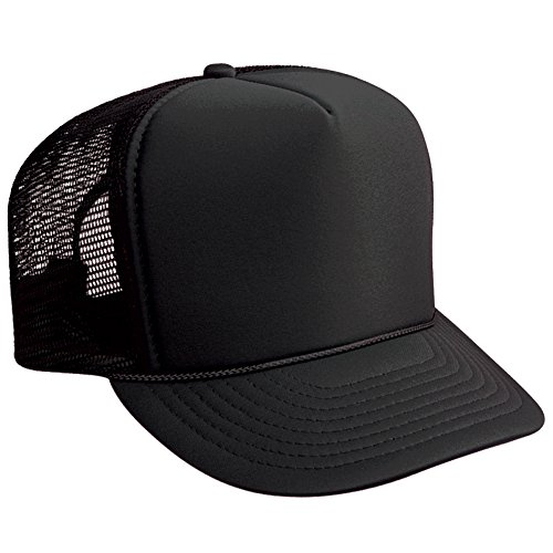 OTTO Trucker Hat Polyester Foam Front High Crown Golf Style Mesh Back Caps Black
