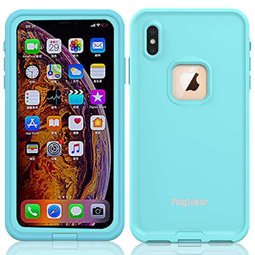 PINGTEKOR Waterproof iPhone Xs Max Case, Rugged Heavy Duty Wireless Charging Full Body Protective with Built-in Screen Protector Clear Case for iPhone Xs Max Case (Light Blue)-Retail Packaging