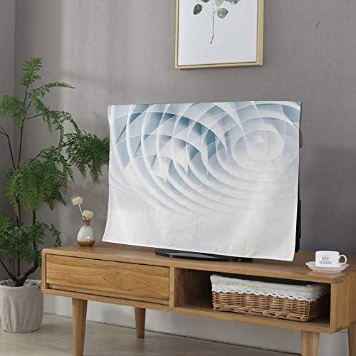 防塵カバー 液晶テレビカバー 家電カバー 60インチのテレビに適用 可愛い 欧米風 保護カバー - パソコン ホコリ 幾何学的な装飾 寸法線付きの未来的なデジタルスパイラルロールボルテックスプリント ベイビーブルー