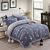 Striped Duvet Cover Queen Reversible Triangle Printed Bedding Duvet Set for Comforter with 2 Pillow Cases Soft Microfiber Duvet Cover (Gray-Blue, 3pcs)