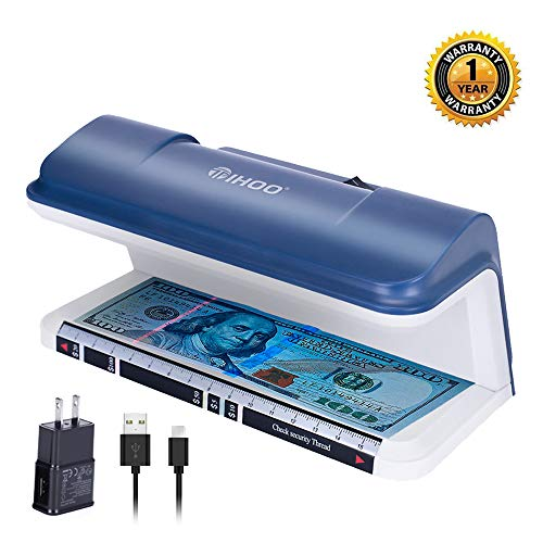 TIHOO Counterfeit Bill Detector with LED UV Light, Money Marker Counterfeits Money Detector, Fake Money Detector Machine for Bill, Blue (The Best Counterfeit Money Detector)