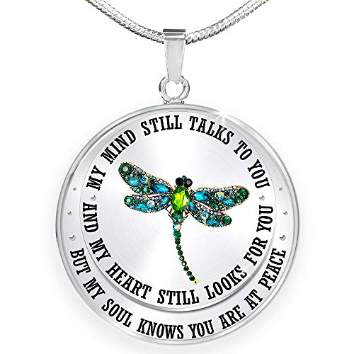 DesDirect Store Dragonfly - My Mind Still Talks to You Necklace Circle - Perfect Happy Gift (Sliver)