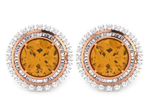 Libertini Boucle d'oreille argent 925 plaque or Rose serti de Diamant et Saphir