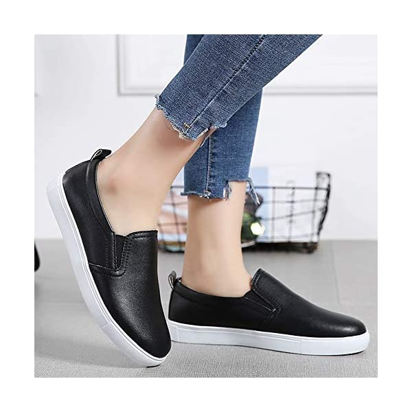 Alinb Shoes for Women's Slip-on Ladies Loafer Comfort Casual Leather Sneakers Penny Shoes Flats