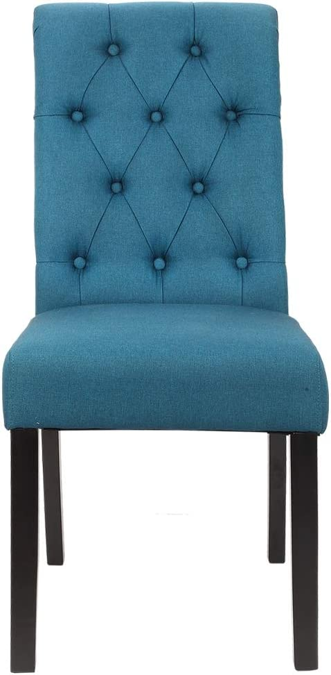 Set of 2 Blue Homegear Parsons Style Tufted Upholstered Large Dining Side Chairs
