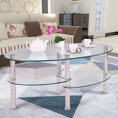 Tempered Glass Oval Side Coffee Table Shelf Chrome Base Living Room Clear New - Walnut Stained Glass Floor Lamp