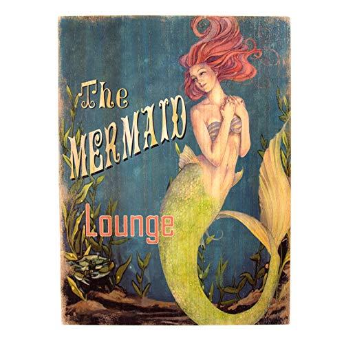 CANTON IMPORTS Wood Mermaid Lounge Sign
