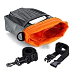 Dog Treat Training Pouch – Waterproof Handy Dual Compartments Easily Carries Pet Toys, Kibble, Treats – Built-In Poop Bag Dispenser – 3 Ways to Wear – Grey