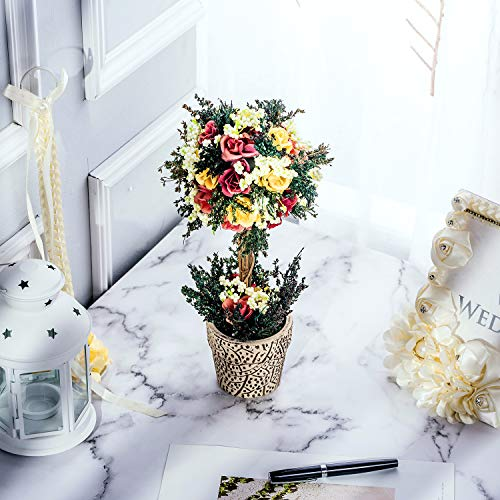 BEGONDIS Artificial Rose Flowers Bouquets with Ceramic Pot, 11.8