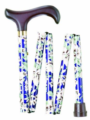 Folding Walking Stick - Blue Floral Morris