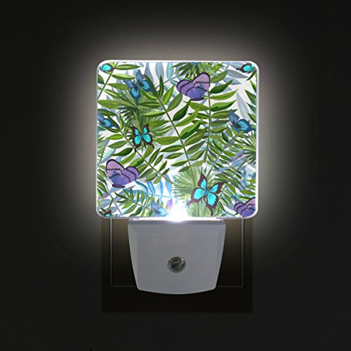 ALAZA LED Night Light with Smart Dusk to Dawn Sensor,Butterfly with Tropical Leaves Plug in Night Light Great for Bedroom Bathroom Hallway Stairways Or Any Dark (Butterfly Leaf Light)