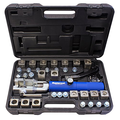 "Mastercool 72485-PRC Silver/Blue Universal Hydraulic Flaring Tool Set (3/8""&1/2"" Transmission Cooling Line Die/Adapter Sets Plus Tube Cutter)"