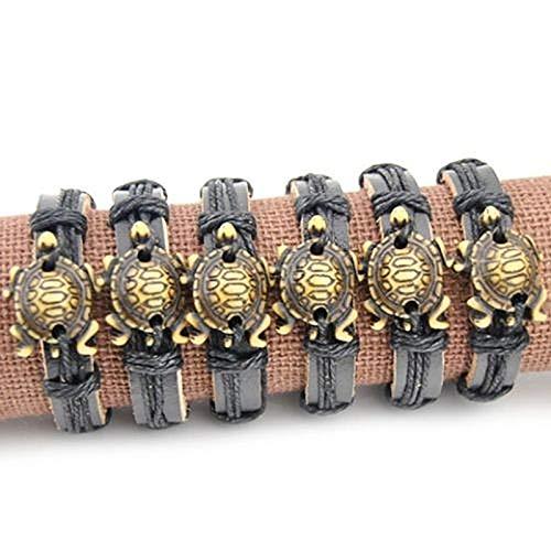 Cool Imitation Bone Carving Sea Turtles Surfing Leather Bracelets & Bangles ()