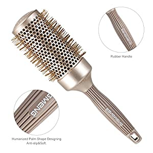 BANGMENG Round Barrel Anti-Static Hair Brush | Nano Thermal Ceramic Ionic Tech | Protect Hair, Enhance Texture, For Straightening, Styling & Drying (2inch)