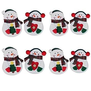 Nalmatoionme - Adorno navideño, muñeco de nieve para decoración de mesas, bolsos, cubiertos (8 unidades): Amazon.es: Hogar