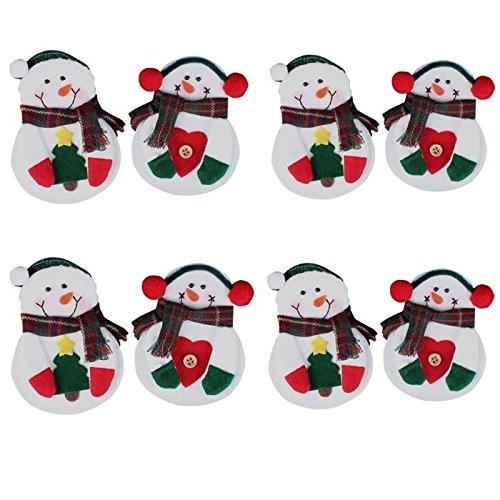 Ewfsef 8PCS Snowman Christmas posate forchette da tavola decorazione per Natale ornamento