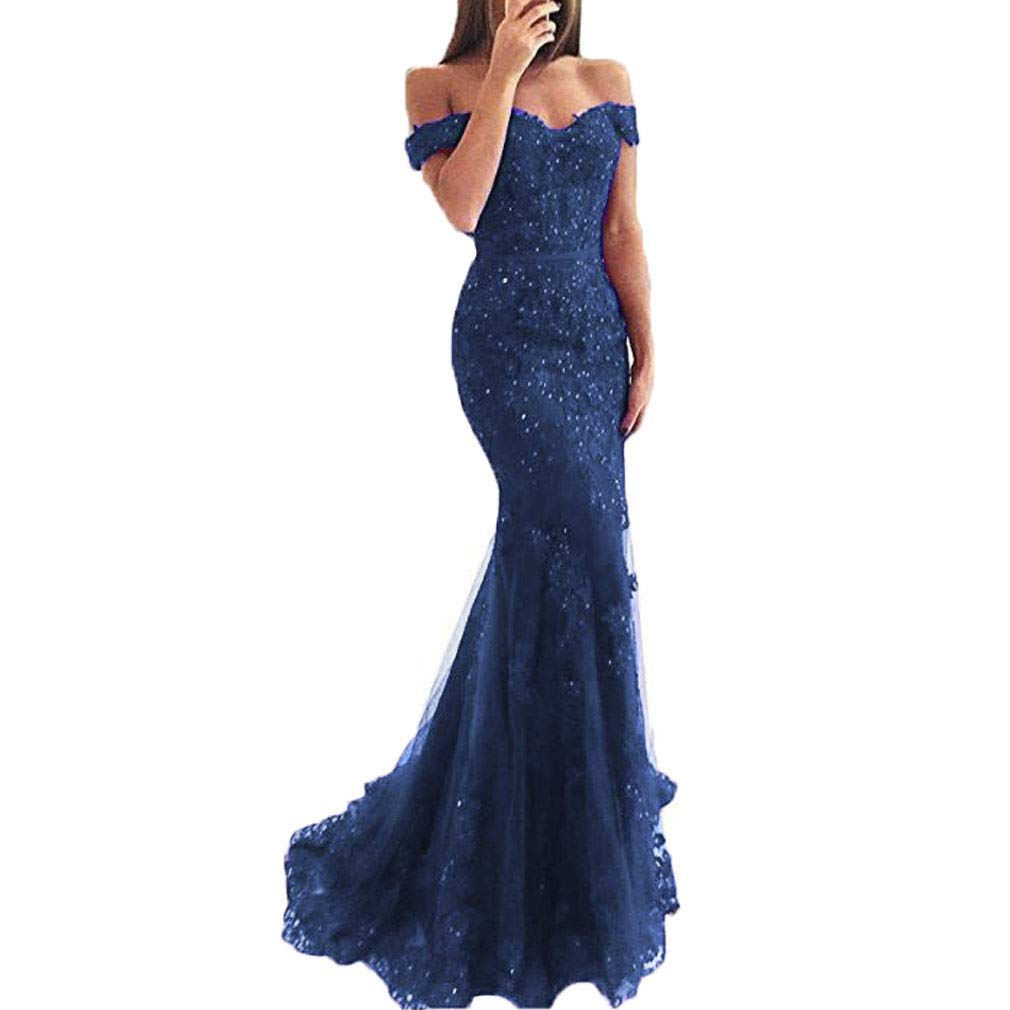 Navy bluee Fashionbride Women's Long Prom Dress Beaded Lace Off The Shoulder Mermaid Formal Dresses ED110