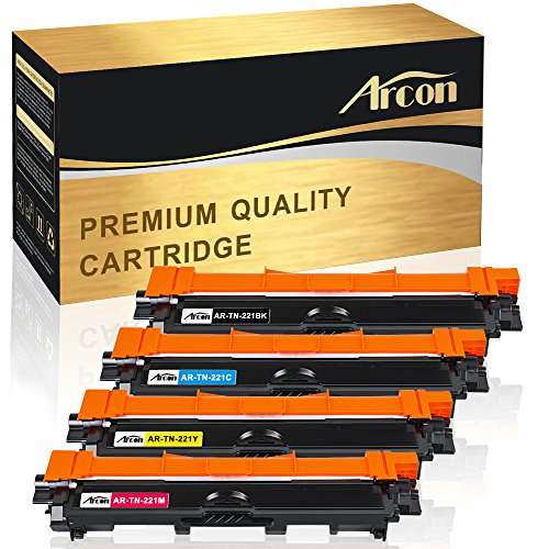 Arcon 4 Packs Compatible for Brother TN-221 TN-225 Toner Cartridge MFC 9130cw 9340cdw 9340 cdw 9330cdw HL 3170cdw MFC-9340cdw MFC-9330cdw MFC9340cdw MFC9130cw MFC-9130cw HL-3170cdw HL3170cdw Printer