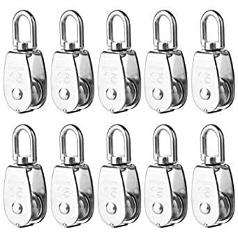 Dveda M32 304 Stainless Steel Lifting Single Pulley Roller Loading 550Lbs Heavy Duty Single Rope Pulley Roller 6 Pcs Single Pulley Block