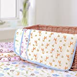 Elf Star Cotton Bamboo Fiber Breathable Waterproof Underpads Mattress Pad Sheet Protector for Children or Adults, Elephant and Giraffe Print, 20