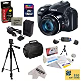 Canon PowerShot SX50 HS 12MP Digital Camera with 2.8-Inch LCD (Black) With Must have Accessory Kit Includes 32GB High-Speed SDHC Card + Card Reader + Extended Life Battery + Rapid Charger + Deluxe Carrying Case + Professional 60″ Tripod + Lens Cleaning Kit including LCD Screen Protectors + 47st.photo Microfiber Cleaning Cloth + $50 Photo Print Gift Card
