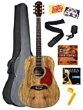 Oscar Schmidt OG2SMG Spalted Maple Dreadnought Acoustic Guitar Bundle with Gig Bag, Austin Bazaar Instructional DVD, Clip-On Tuner, Strap, Strings, Winder, Picks, and Polishing Cloth - Gold Tuners