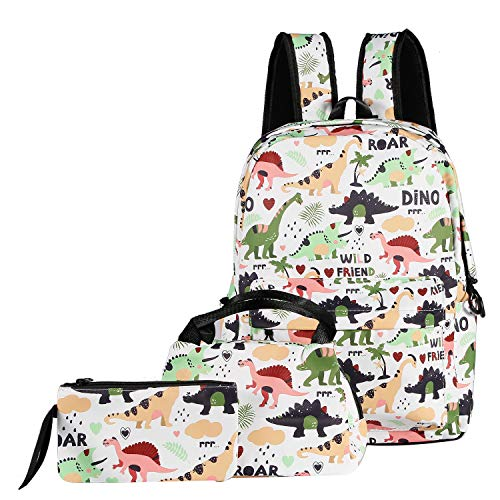 ABage School Bag 3 backpack Set Cute Lunch Bag Pattern Bookbag with Pencil Case for Girls and Boys, White Dinosaur ()