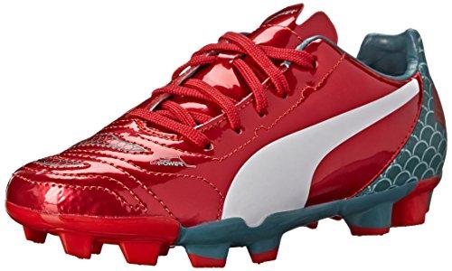 Puma Evopower 4.2 Graphique Fg Jr Football Chaussure (petit Enfant / Grand Enfant) Risque Élevé Rouge / Blanc / Pin De La Mer