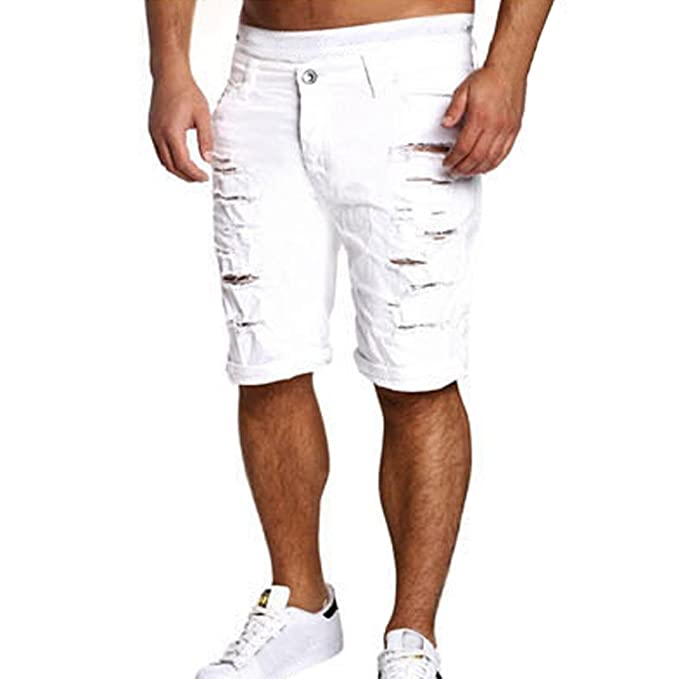 f2bd668165 Dragon868 Pantalone Uomo, Pantaloncini Jeans strappato Estate Taglie ...